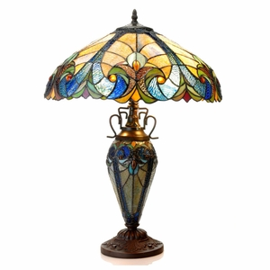 """LIAISON Tiffany-style 3 Light Victorian Double Lit Table Lamp 18"""" Shade"""