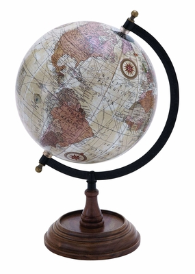 Wooden And Metal Globe In Brown Finish And Intricate Detailing - 38115 by Benzara