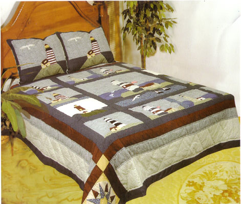 American Hometex 4807-Q Light House Quilt Queen Size 90 Inch X 90 ... : quilts and coverlets queen size - Adamdwight.com