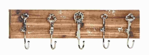 Modern Wood Metal Wall Hook With Natural Texture - 55462 by Benzara