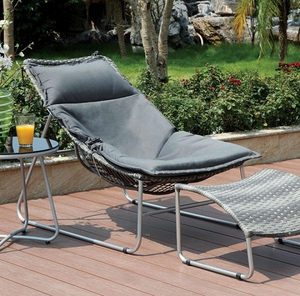 Lili Contemporary 1Pc Chair With Gray Cushion, 1Pcs Ottoman