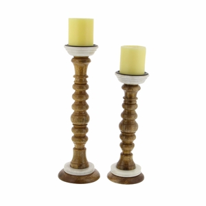Liliana Wood Marble Candle Holder, Set Of 2 - 94555 by Benzara