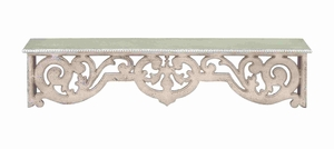 Wood Wall Top Shelf with Intricately Designed Wood Work - 50994 by Benzara