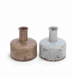 Ceramic Vase with Warm and Polished Finish in Linen Fabric - 78658 by Benzara