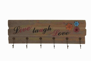 Classy Wooden Floral Metal Wall Hook Panel - 93941 by Benzara