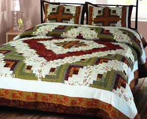 "Log Cabin Quilt King Handmade Bedding Ensembles 106"" X 96"""