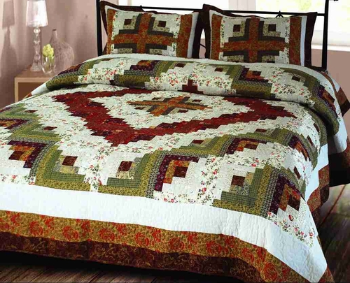 Elegant Decor 101825-Q Log Cabin Quilt Queen Size Handmade Cotton ... : size of quilts - Adamdwight.com