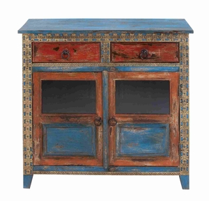 """Durable And Long Lasting 35"""" Wooden Almirah With Stylish Design - 27805 by Benzara"""