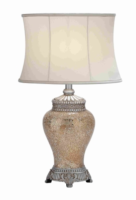 Polished Stone Long Lasting  Mosaic Table Lamp in White Shade - 40159 by Benzara