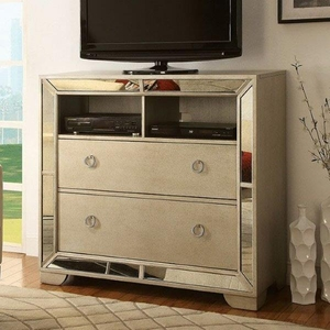 Loraine Modern Victorian Style Media Chest With Loop Handles, Silver