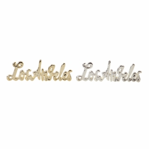 Los Angeles Sign In Gold And Silver Finish, Assorted In 2 - 98423 by Benzara