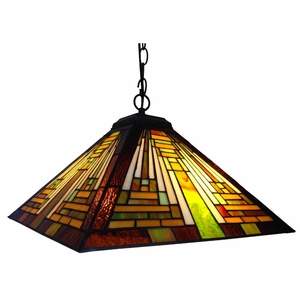 "CHLOE Lighting Tiffany-style 2 Light Mission Hanging Pendant Fixture 16"" Shade"