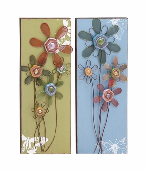 Lovely Floral Themed Assorted Set Of Two Wall Panel - 18121 by Benzara