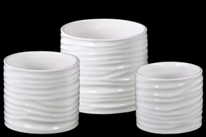 Low Cylindrical Pot with Ribbed Design Body Set of 3 - White - Benzara