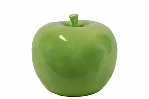 Lustrous & Glossy Ceramic Apple Decor in Green Large