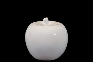 Lustrous & Glossy Ceramic Apple Decor in White Small