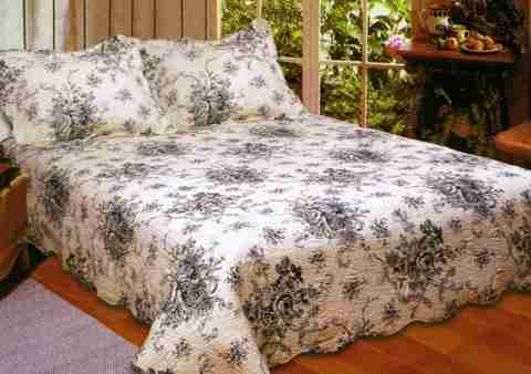 American Hometex 2090K-Q Luxury Queen Quilt - French Country ... : black floral quilt - Adamdwight.com