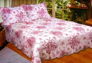 American Hometex French Country Red King Quilt Set