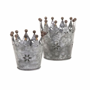 Maddy Galvanized Crowns - Set of 2