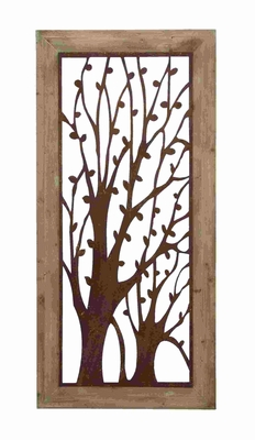Enchanting Wall Plaque With Garden Trees - 85972 by Benzara