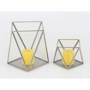 Magnificent Metal Glass Candle Holder, Set Of 2 - 57380 by Benzara