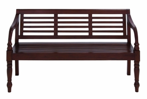 Contemporary Wooden Bench With Glossy Brown Texture - 37723 by Benzara