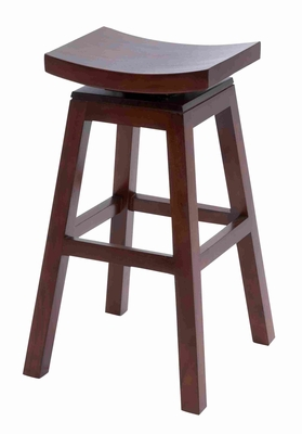 Wooden Barstool With Solid Wooden Legs In Dark Finish - 37803 by Benzara