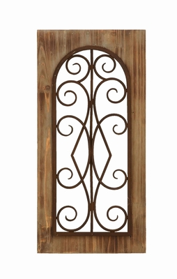 Wooden And Metal Wall Panel In Majestic Style With Tan Finish - 52752 by Benzara