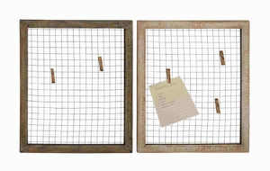 Set of Two Wood Metal wall decor Assorted With Wire Mesh - 51015 by Benzara