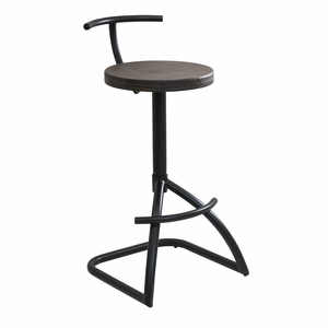 Mantis Industrial style Barstool in Black Metal with Espresso Wood Seat by LumiSource