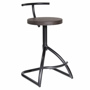 Mantis Industrial style Counter Stool in Black Metal with Espresso Wood Seat.
