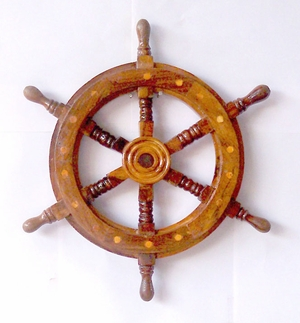 Marine Ship Wheel with Wooden Centre