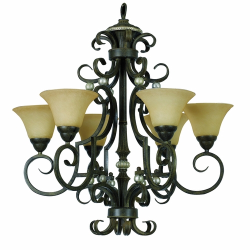 Buy Mariposa Collection Attractive 6 Light Chandeliers In Light Tuscan Sand Finish With Turismo