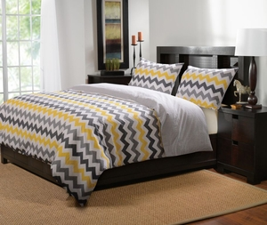 Greenland Home Fashions Marquis Collection Vida Yellow/Gray Color King Duvet Cover Set, 3-Pcd Ho