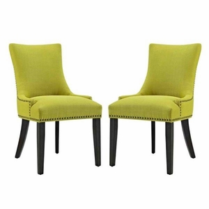 Marquis Set of 2 Fabric Dining Side Chair, Wheatgrass
