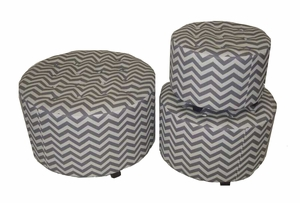 Marvellous and Lovely 3pc Wood Linen Round Ottoman   - EN50261 by Benzara