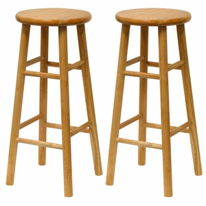"""Marvelous Set of 2 Assembled 30"""" Stool with Beveled Seat by Winsome Woods"""