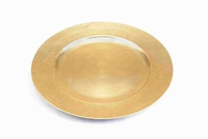 Melamine Lacquered Leaf Charger Plates in Gold Finish - Set of 24 - 85650 by Benzara