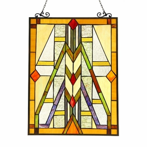 Menahem, Tiffany-Glass Window Panel 17.5X25