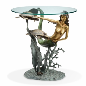 Mermaid and Sea Turtles Sculpture End Table with Tempered Glass Top by SPI-HOME