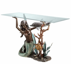 Mermaid Holding Table Top with Dolphin and Turtle in Beautiful Underwater Seascape Console Table by SPI-HOME
