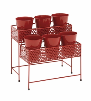 Mesmerizing Artistic Styled Metal 2 Tier Plant Stand Red - 28942 by Benzara