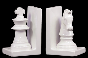 Mesmerizing Ceramic Chess Piece Bookend White