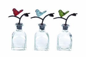 Mesmerizing Glass Metal Stopper Bottle 3 Assorted - 55491 by Benzara
