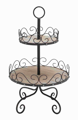 2 Tier Tray Styled with Beautiful Scroll Accents - 50468 by Benzara