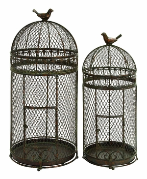 Metal Bird Cage Set Of 2 For Those Who Have Passion For Birds Keeping - 63182 by Benzara