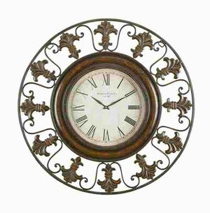 METAL WALL CLOCK WITH ROUND FLOWER THEMED BORDER - 75621 by Benzara