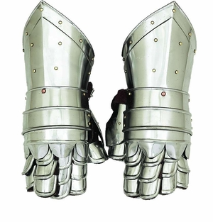 Metal Armour Hand Gloves Pair With Invitingdecor Appeal - 36302 by Benzara