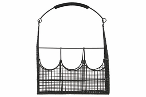Metal Basket with 3 Slots Handle and Mesh Sides