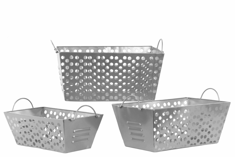 Metal Basket With Holes : Buy metal basket with handles and punched hole sides